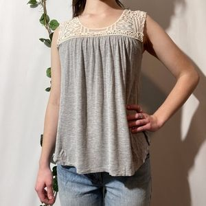 Maurices Crochet Lace Gray Button Open Back Top